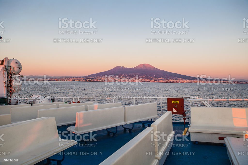 Sunset on Naples stock photo