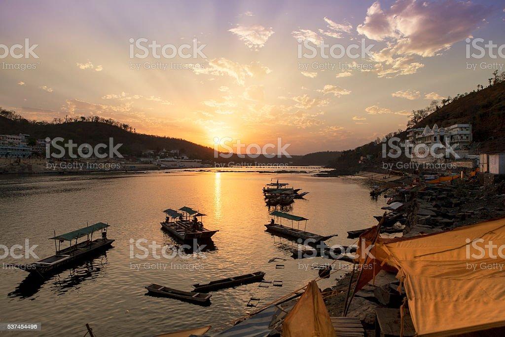 sunset on narmada river stock photo