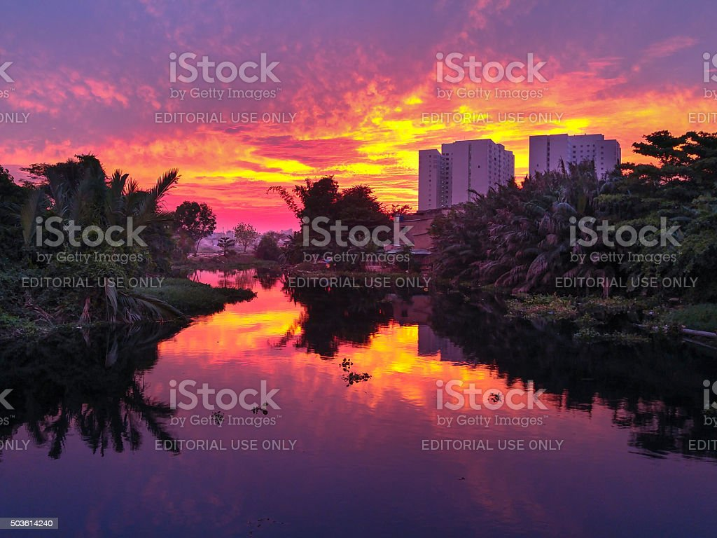 Sunset on NhieuLoc channel stock photo