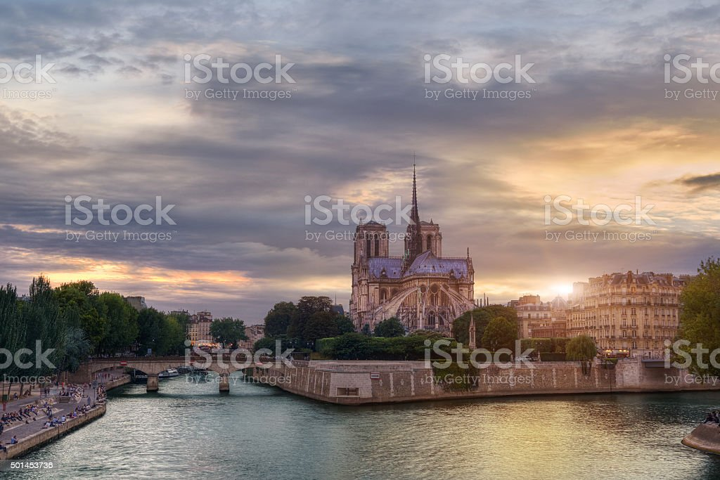 Sunset on Notre-Dame stock photo