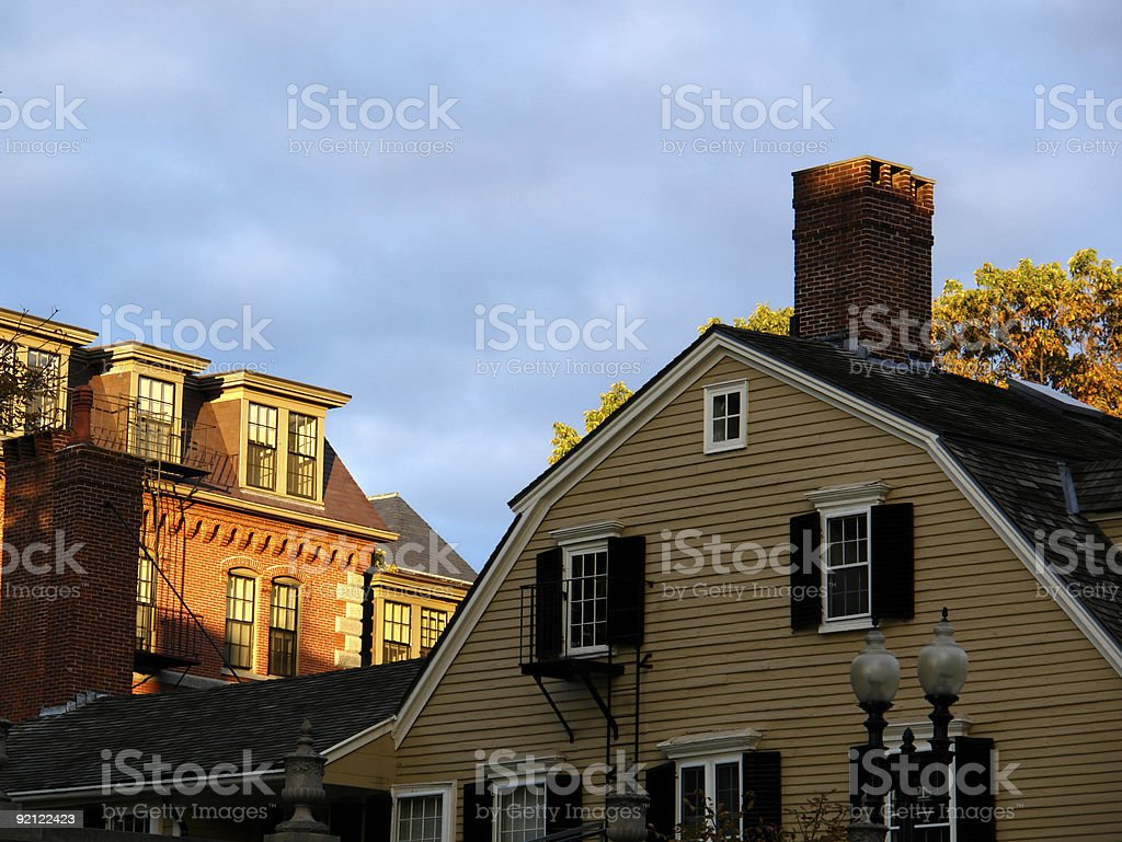sunset on old houses in harvard square royalty-free stock photo