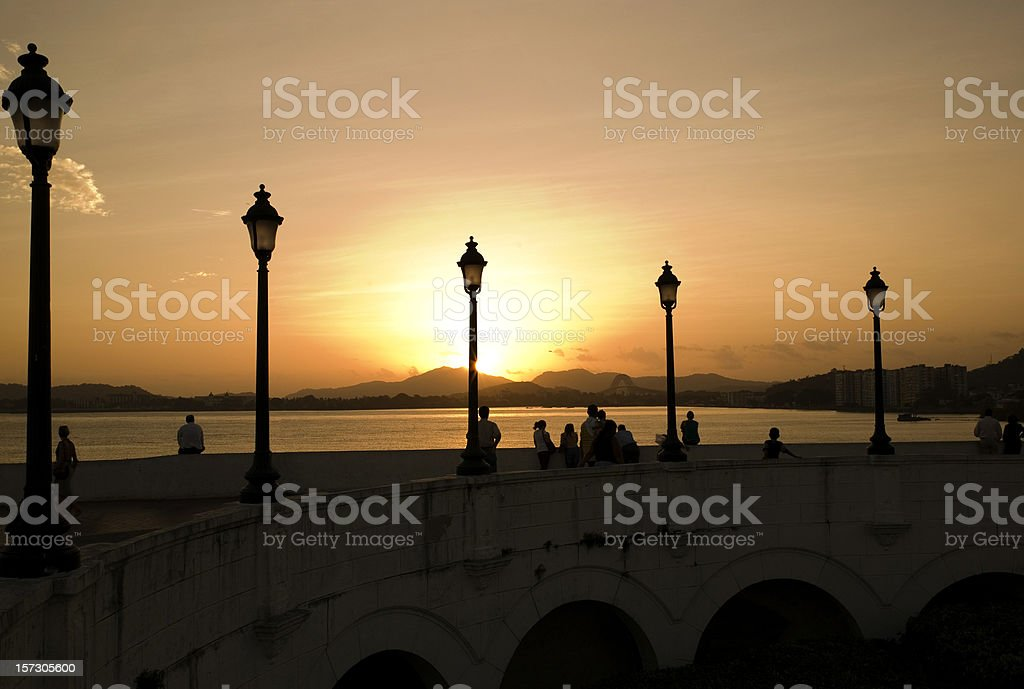 Sunset on Panama Canal royalty-free stock photo