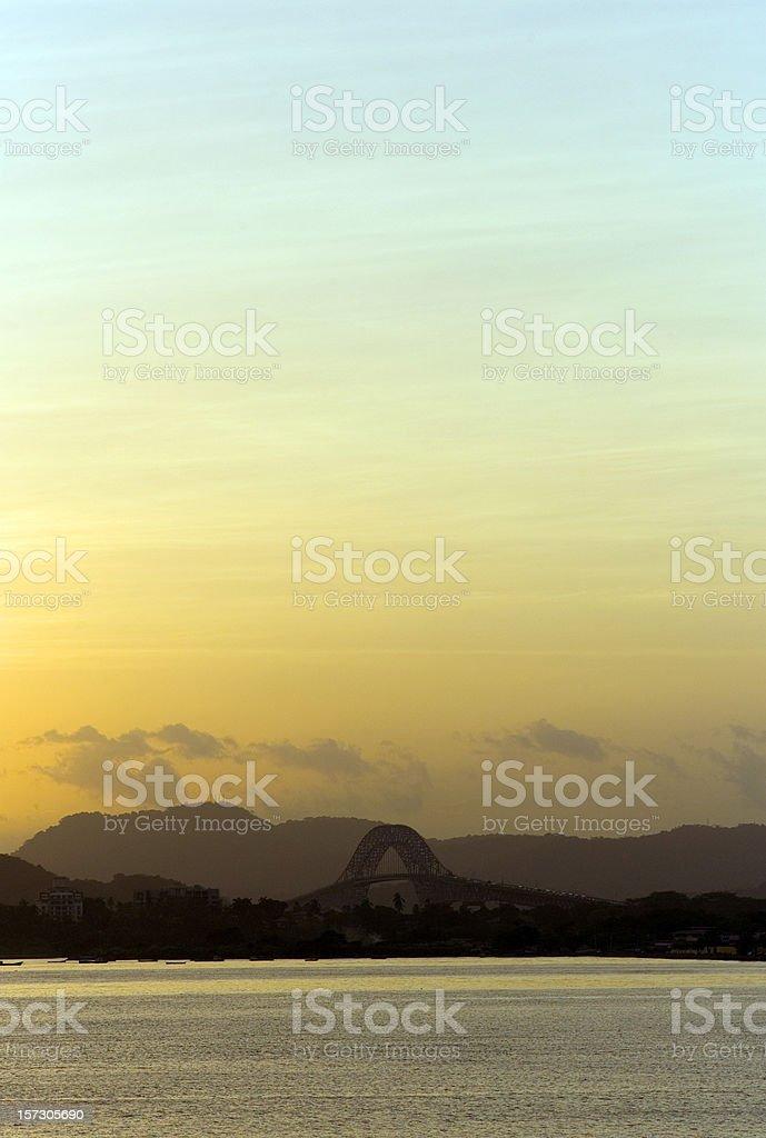 Sunset on Panama Canal stock photo