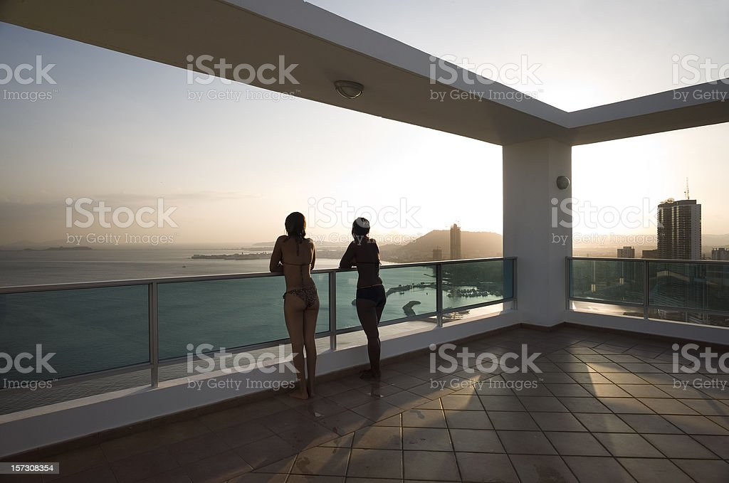 Sunset on Panama Deck royalty-free stock photo