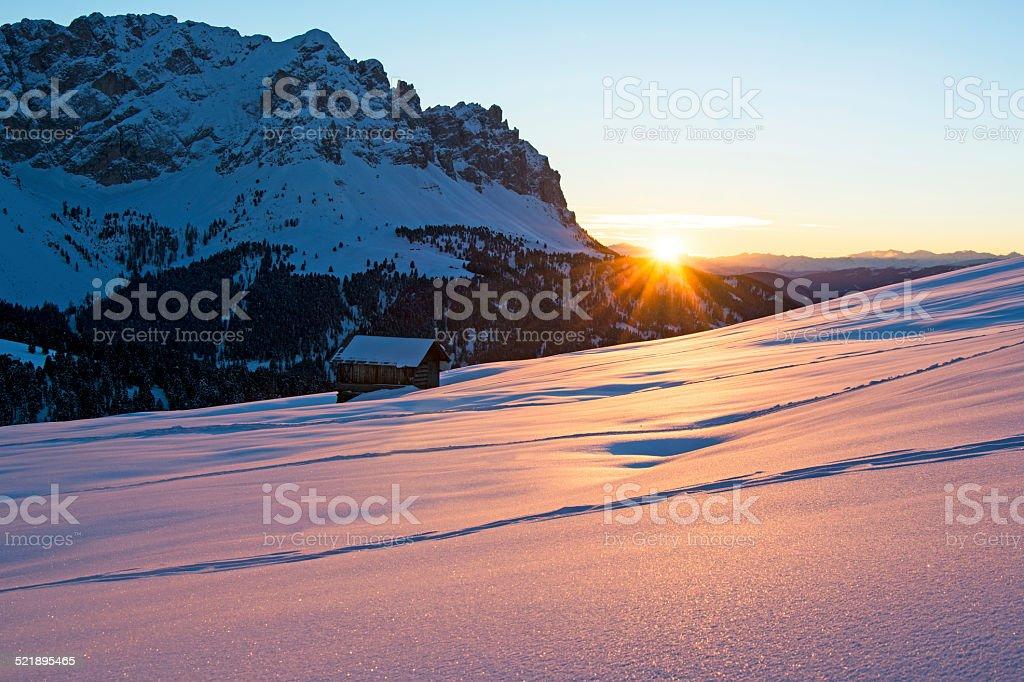 Sunset on Passo delle Erbe, W?rzjoch stock photo
