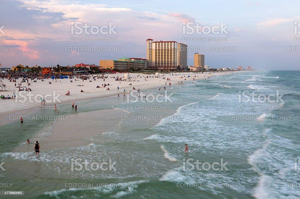 Sunset on Pensacola beach stock photo