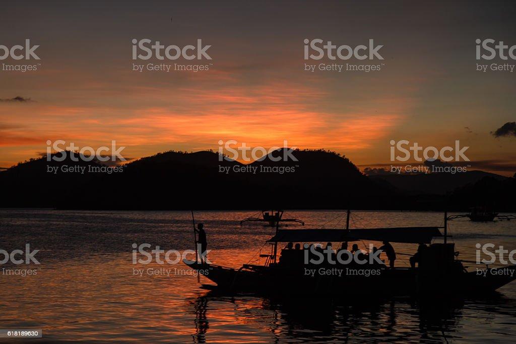 Sunset on Philippines beach  - Corong Corong beach, El-Nido ,Palawan,Philippines stock photo