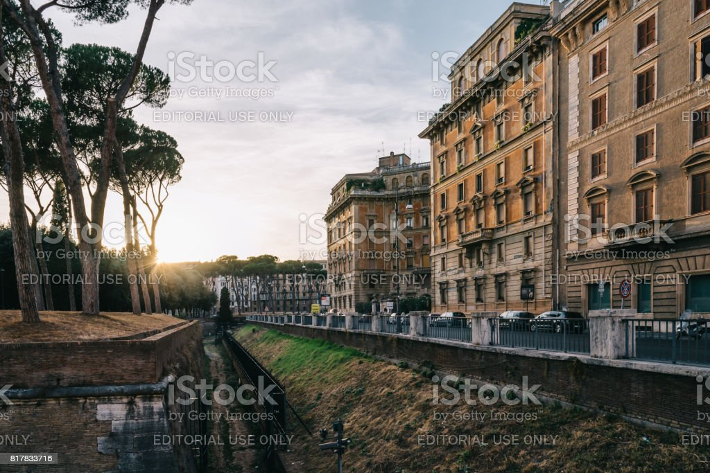 Sunset on Piazza Adriana in Rome near Castel Sant Angelo stock photo