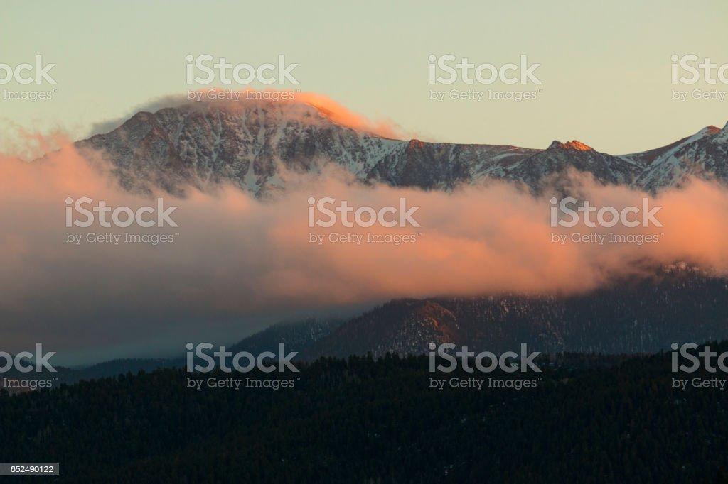 Sunset on Pikes Peak stock photo
