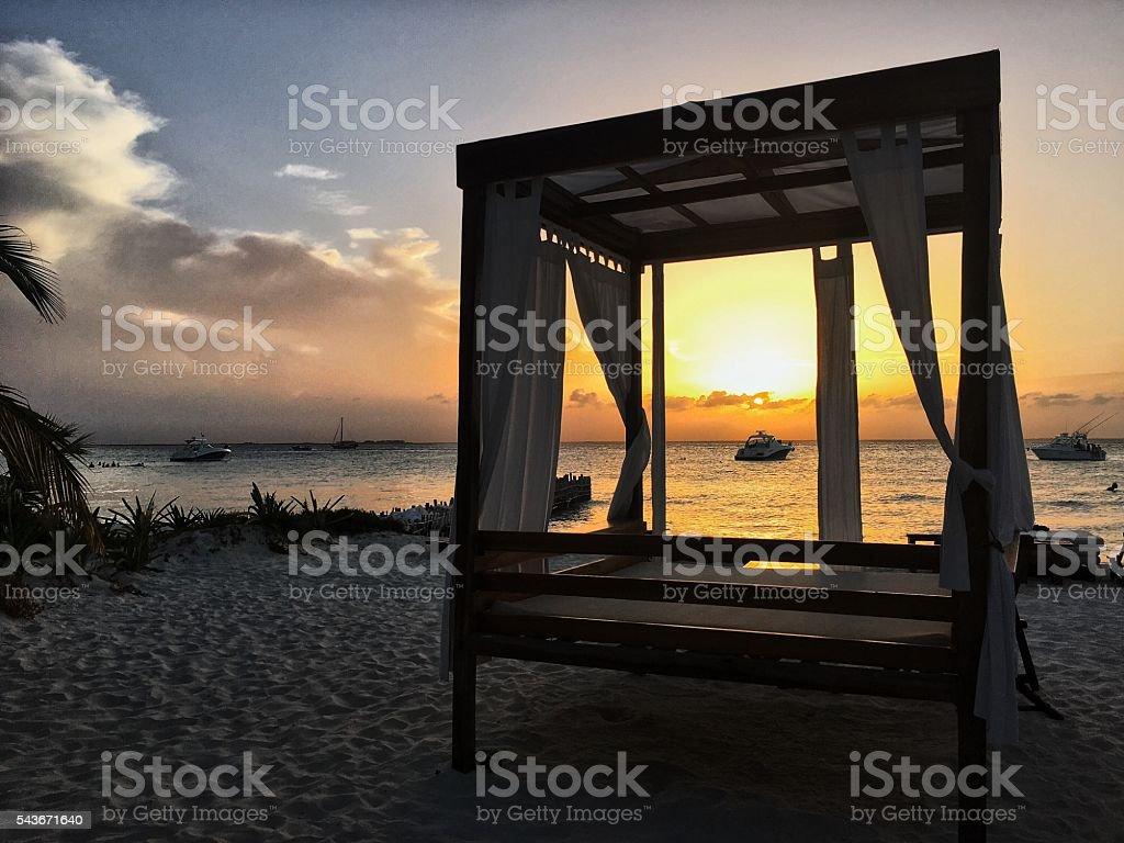 Sunset on Playa Norte stock photo