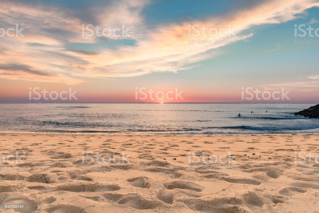 Sunset on portuguese seaside stock photo