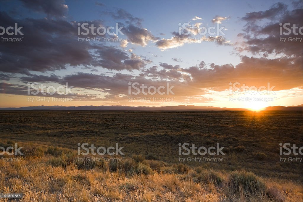 Sunset on Prairie - somewhere in Idaho stock photo
