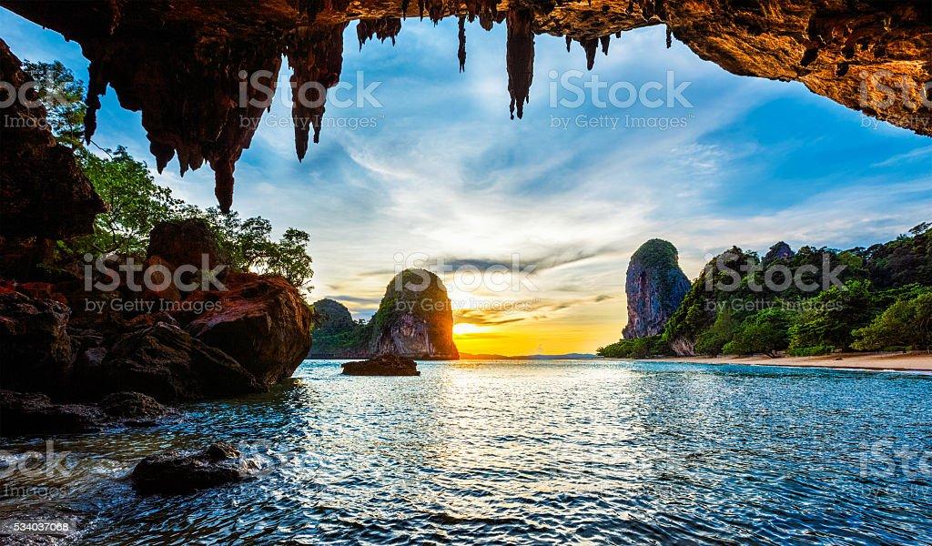Sunset on Pranang beach. Railay , Krabi Province Thailand stock photo