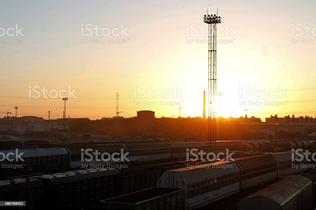 Sunset on railways stock photo