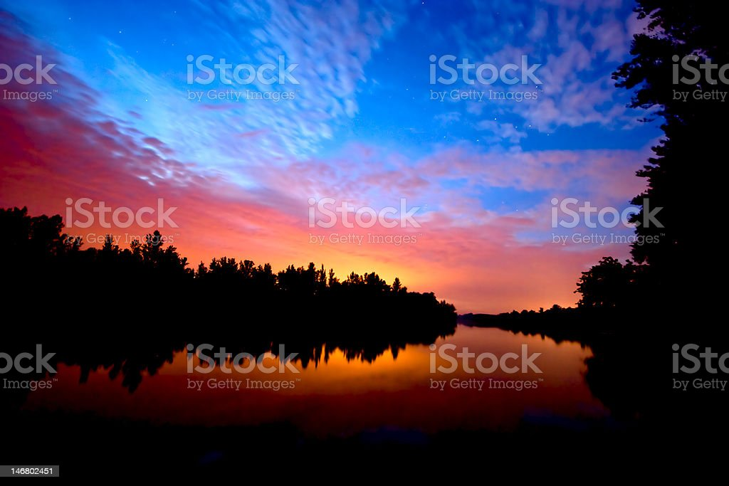 sunset on river royalty-free stock photo