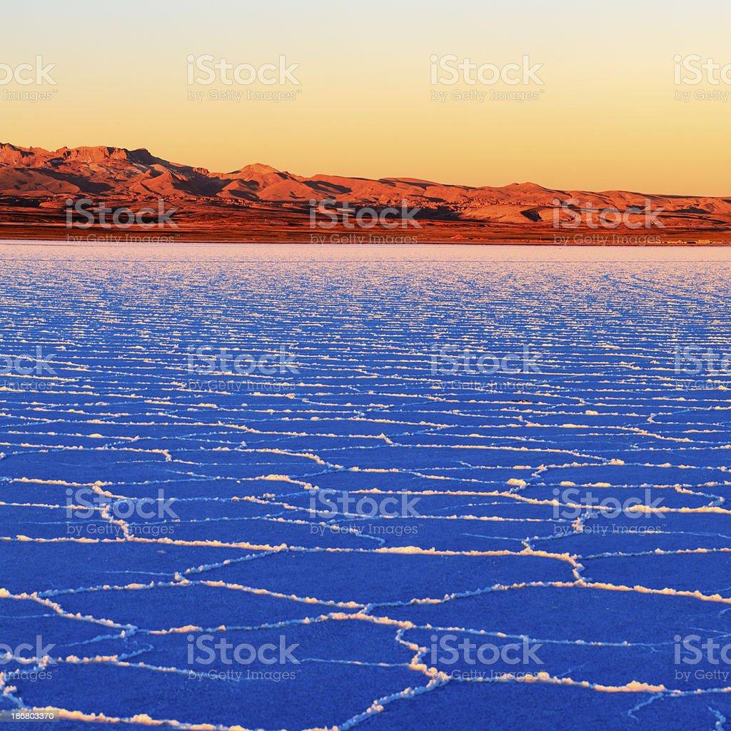 Sunset on Salar de Uyuni, Altiplano Bolivia stock photo