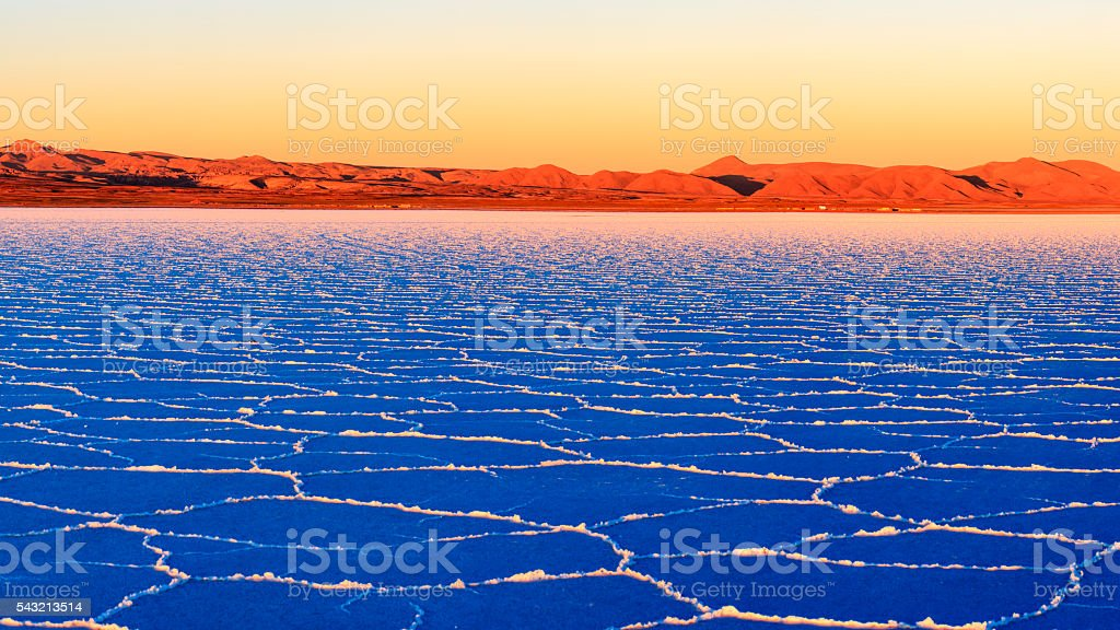 Sunset on Salar de Uyuni, Altiplano Bolivia stock photo