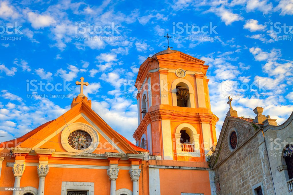 Sunset on San Agustin church in Manila Intramuros, Philippines stock photo