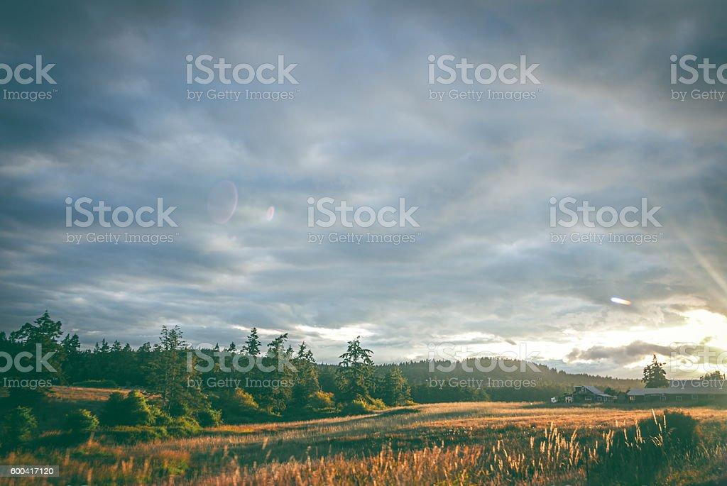 Sunset on San Juan Island USA stock photo