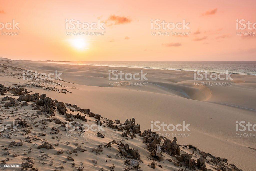 Sunset on sand dunes in Chaves beach Boavista Cape Verde stock photo