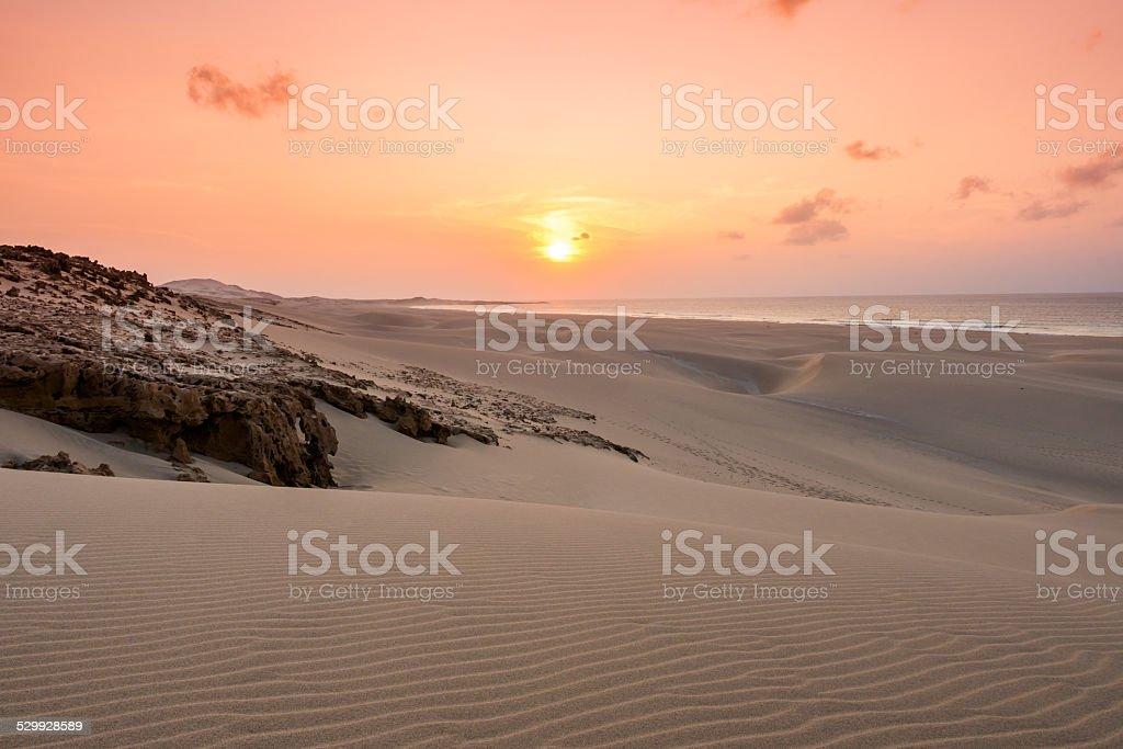 Sunset on sand dunes  in Chaves beach in Boavista stock photo