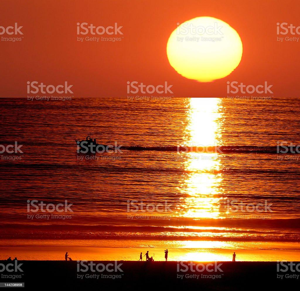 Sunset on Santa Monica Beach royalty-free stock photo
