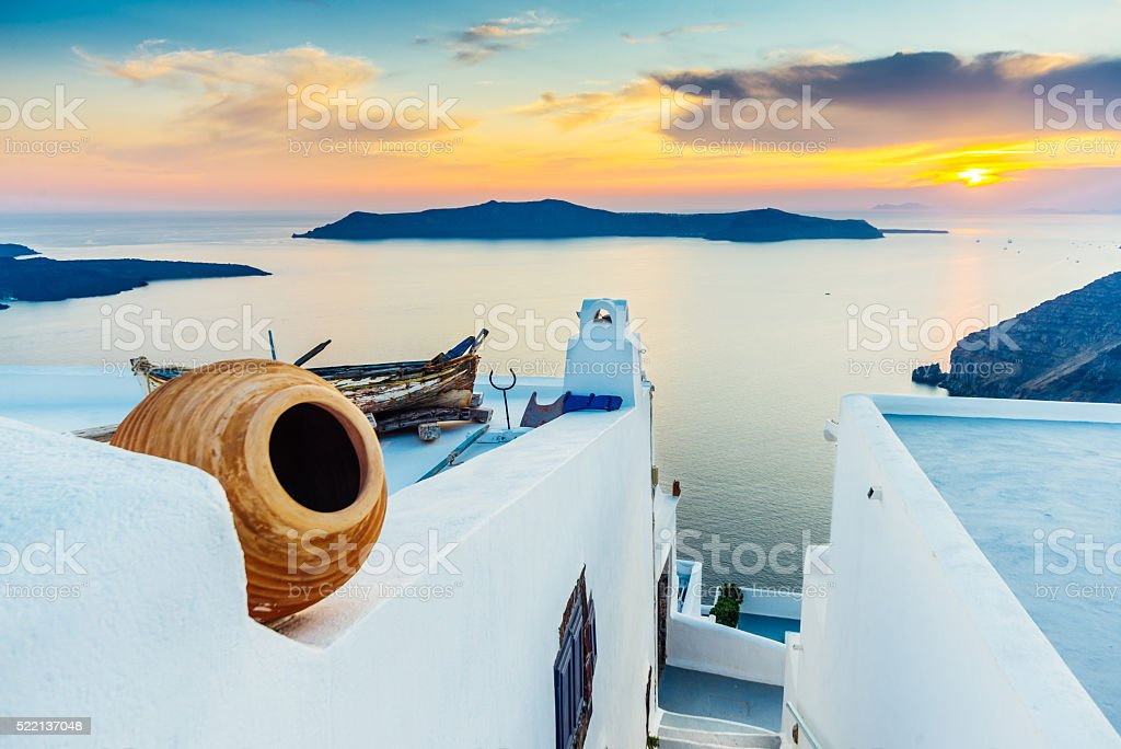 Sunset on Santorini stock photo