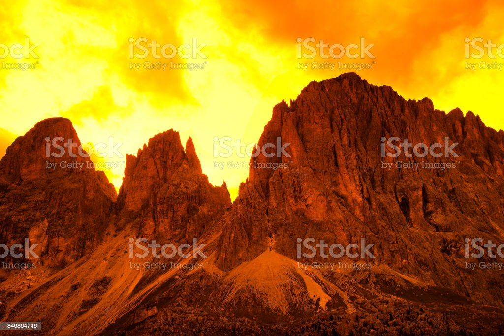 Sunset on Sassolungo Mountains Group, Dolomites Alps, Italy stock photo