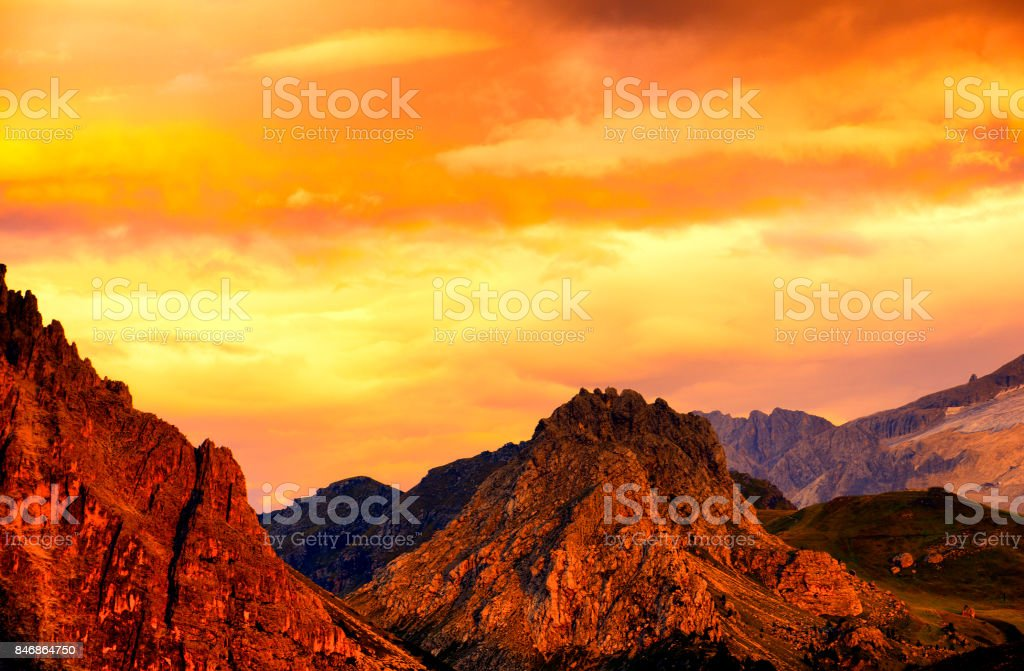 Sunset on Sella Mountain Group, Dolomites Alps, Italy stock photo