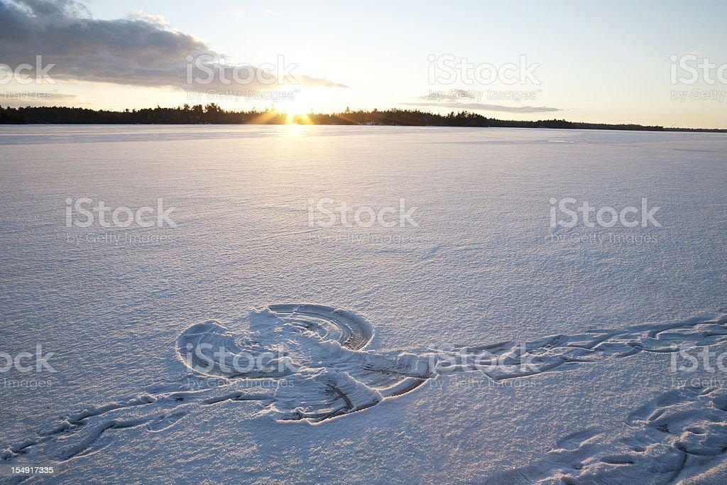 Sunset on Snow Angel stock photo
