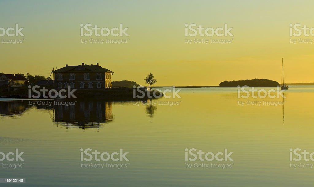Sunset on Solovki island stock photo