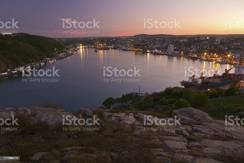 Sunset on St. John's Harbour stock photo