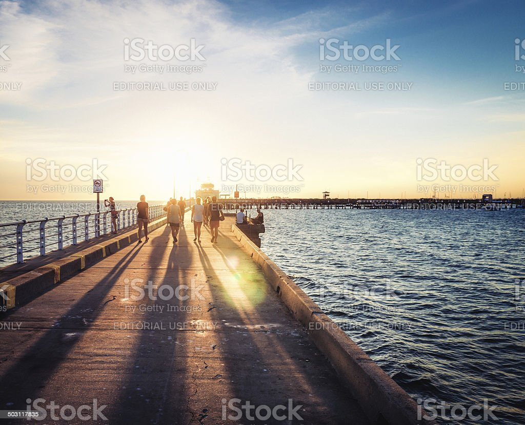Sunset on St Kilda Pier stock photo