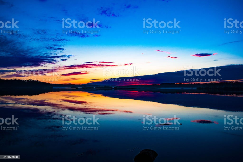 Sunset on St. Louis River royalty-free stock photo
