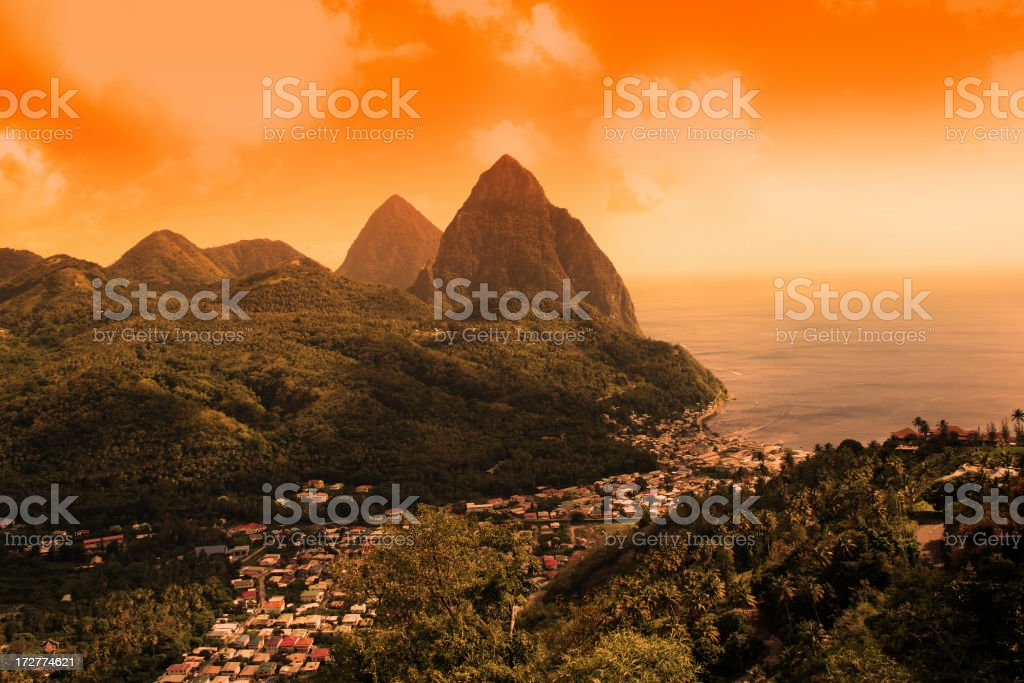 Sunset on St Lucia Pitons stock photo