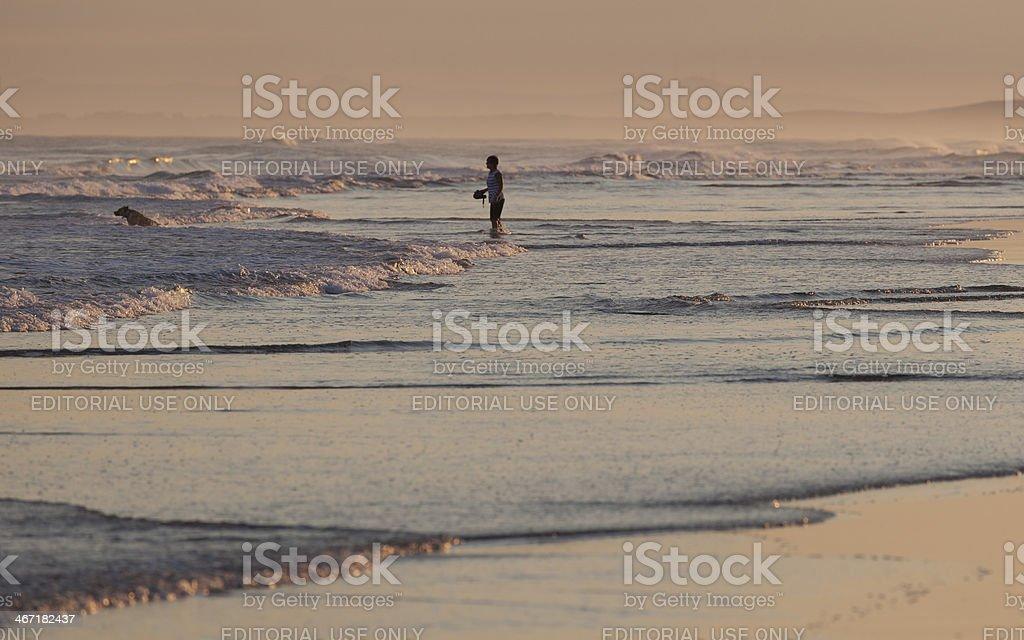 Sunset on Stockton Beach. Port Stephens. Anna Bay. Australia. royalty-free stock photo