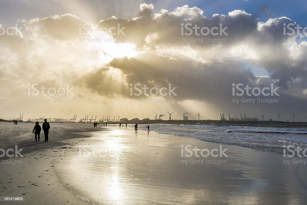 Sunset on stormy day stock photo