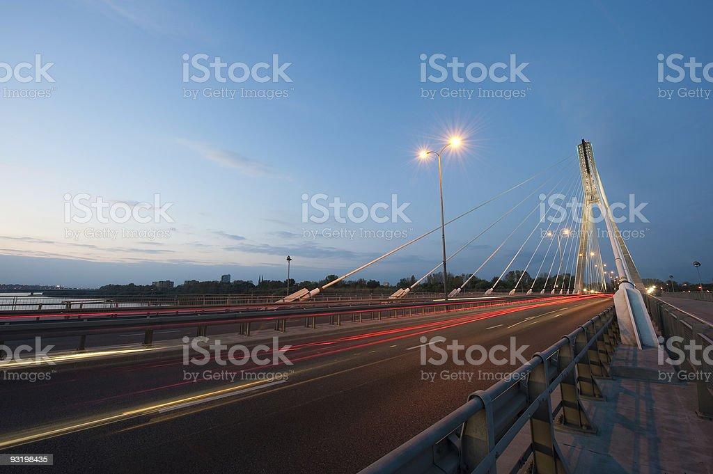 Sunset on Swietokrzyski Bridge stock photo