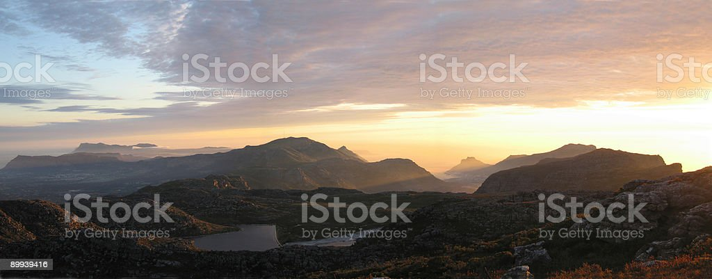 Sunset on Table Mountain royalty-free stock photo