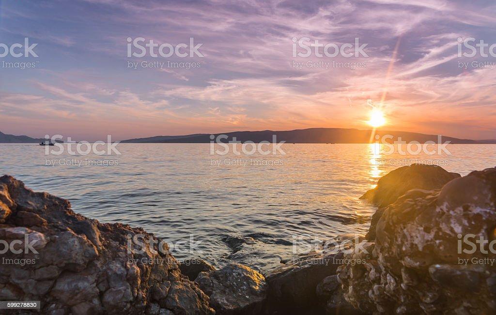 Sunset on the Adriatic coast Croatia stock photo