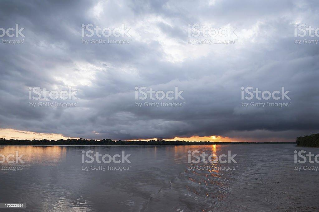 Sunset on the Amazon River, Peru royalty-free stock photo