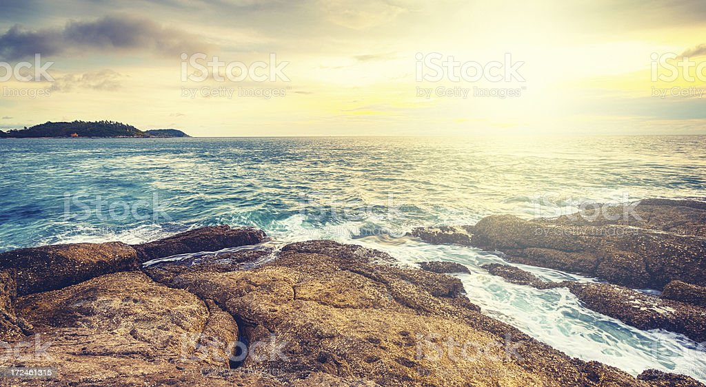 Sunset on the Andaman Sea, Cape Promthep, Phuket, Thailand stock photo