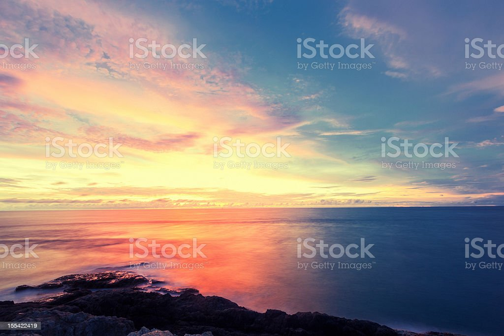 Sunset on the Andaman Sea stock photo