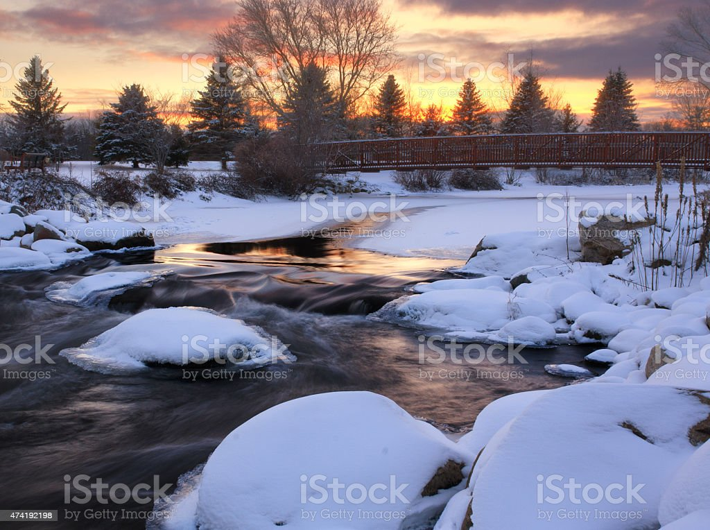 Sunset on the Au Sable River, Grayling, Michigan stock photo