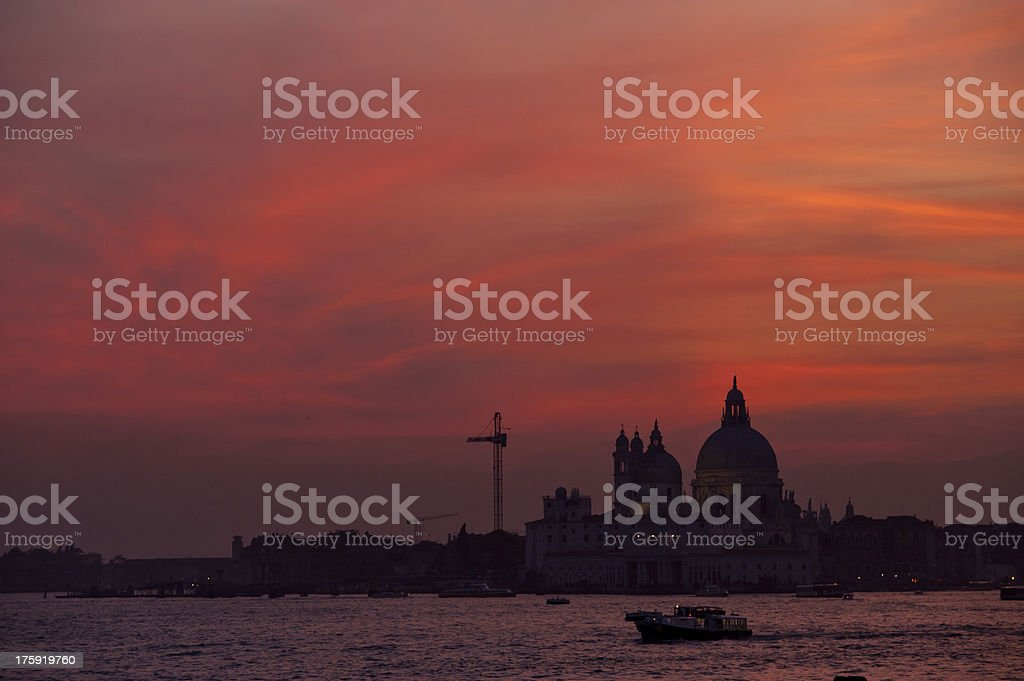 sunset on the Basilica della Salute royalty-free stock photo