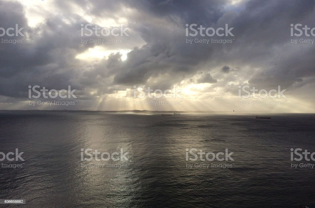 Sunset on the Bay of All Saints in Brazil stock photo