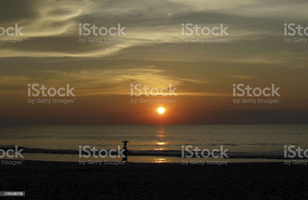 Sunset on the Bay of Bengal stock photo
