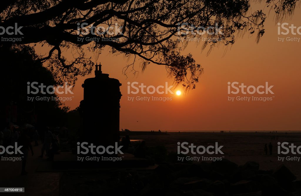 Sunset on the beach in Fort Kochi stock photo