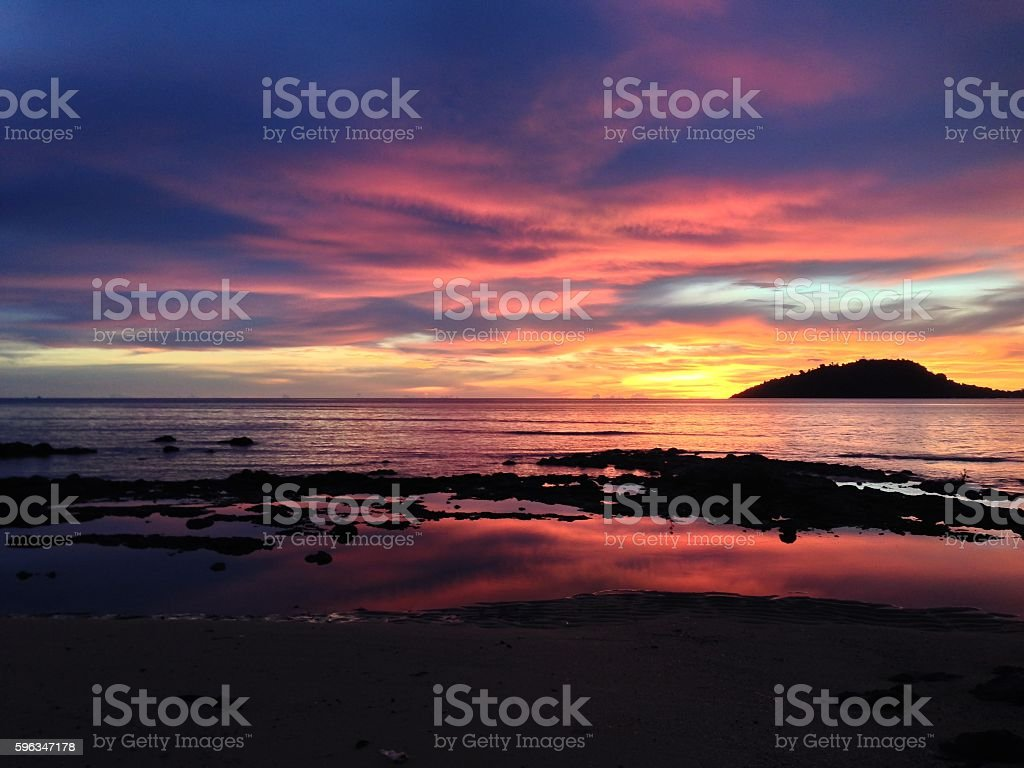Sunset on the beach in Nosy Be Island stock photo