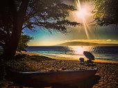 Sunset on the beach, Maui, Hawaii, USA